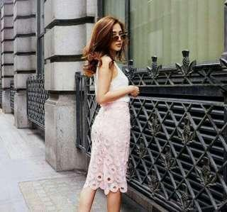 High Waisted Pink Lace Skirt