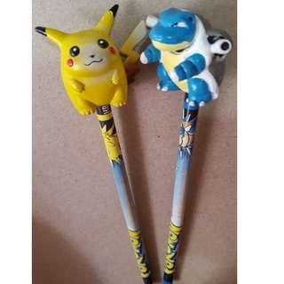 Vintage Pokemon Pencils Toppers Pikachu & Blastoise Toy Island 1999 Rare