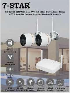 Wireless CCTV-Wifi 2/4CH NVR Kit Set with 2 FHD IP66 Weatherproof Wireless IP Camera Features:Full-HD 1080P, Night-Vision, 2-Way Audio, Motion-Detection, Loop-Recording, Plug & Play, Multi-View, Multi Users, APP:IP Pro (7-STAR*)