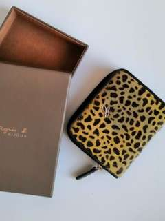 371058ee68f0 Womens wallet leather purse with leopard print pony Agnes B christmas gift