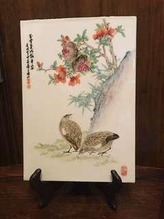 中國景德鎮花鳥瓷片「壬戌」年