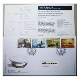 GB UK 英國 - 2001 Royal Navy Submarines Stamp Set FDC MNH