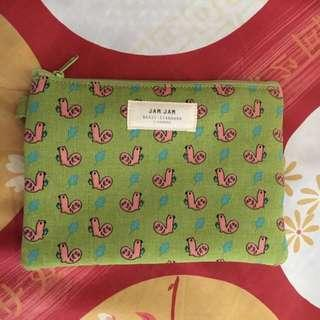 Brand New Green Canvas Pouch with Pink Figurines with Zip