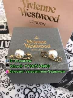 (現貨) 購自英國 經典款 Vivienne Westwood JORDAN 合金 珍珠 扣針 別針 耳環 耳釘 (保証正貨及全新) 金色