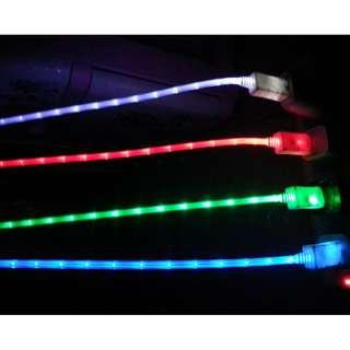 Colorful LED Luminous Tube USB Charging Cable 1M For iPhone / Android