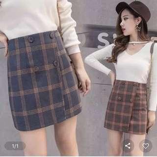 Chequered High Waisted Skirt