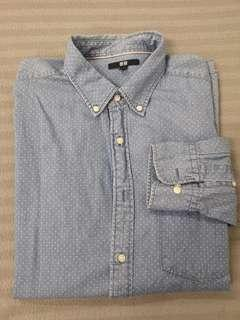 Uniqlo Long Sleeve Faded Denim Shirt