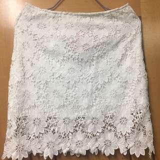 高腰白色lace半截裙