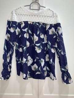 Brand New Long Sleeve Floral Top