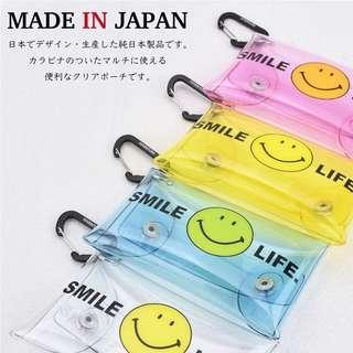 🔥 熱賣再上架 🔥 日本直送 可愛 哈哈笑 多用途套 小物套 Smile Face PVC Clear Multi Case - 附行山扣