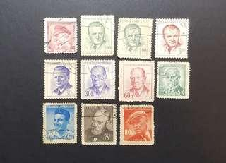 Czechoslovakia vintage stamps Personalities
