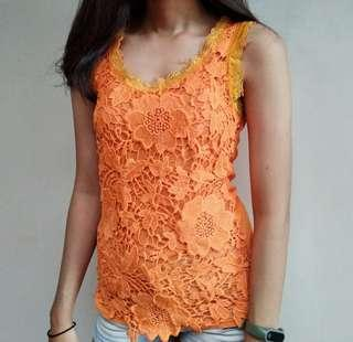 Top brokat orange