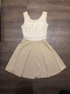 Nude and white lace skater dress