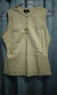 Baju atasan tanpa lengan polos mocca