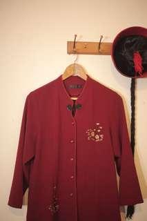 🚚 中國風暗紅色金花刺繡外套