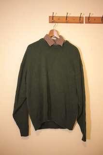 🚚 古著深綠厚針織毛衣