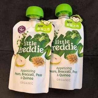 Little Freddie baby organic food pears, broccoli, peas and quinoa