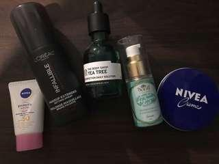 GET ALL for the price of P400 from P500!!! The Body Shop Tea Tree , AHA , L'Oreal Setting Spray , Nivea moisturizer and sun block