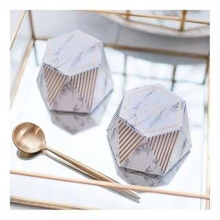 Wedding Welcome Gift / Door Gift Box [Marble Paper Box Hexagon]-D001