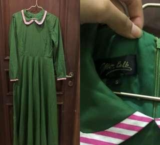 green plain dress by mon belle
