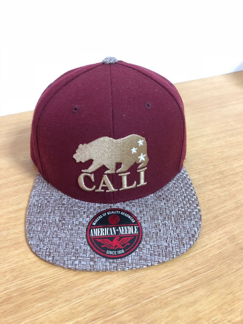 American Needle Cali California Republic Bear Red Gold Snapback Hat ... 901f8959aede
