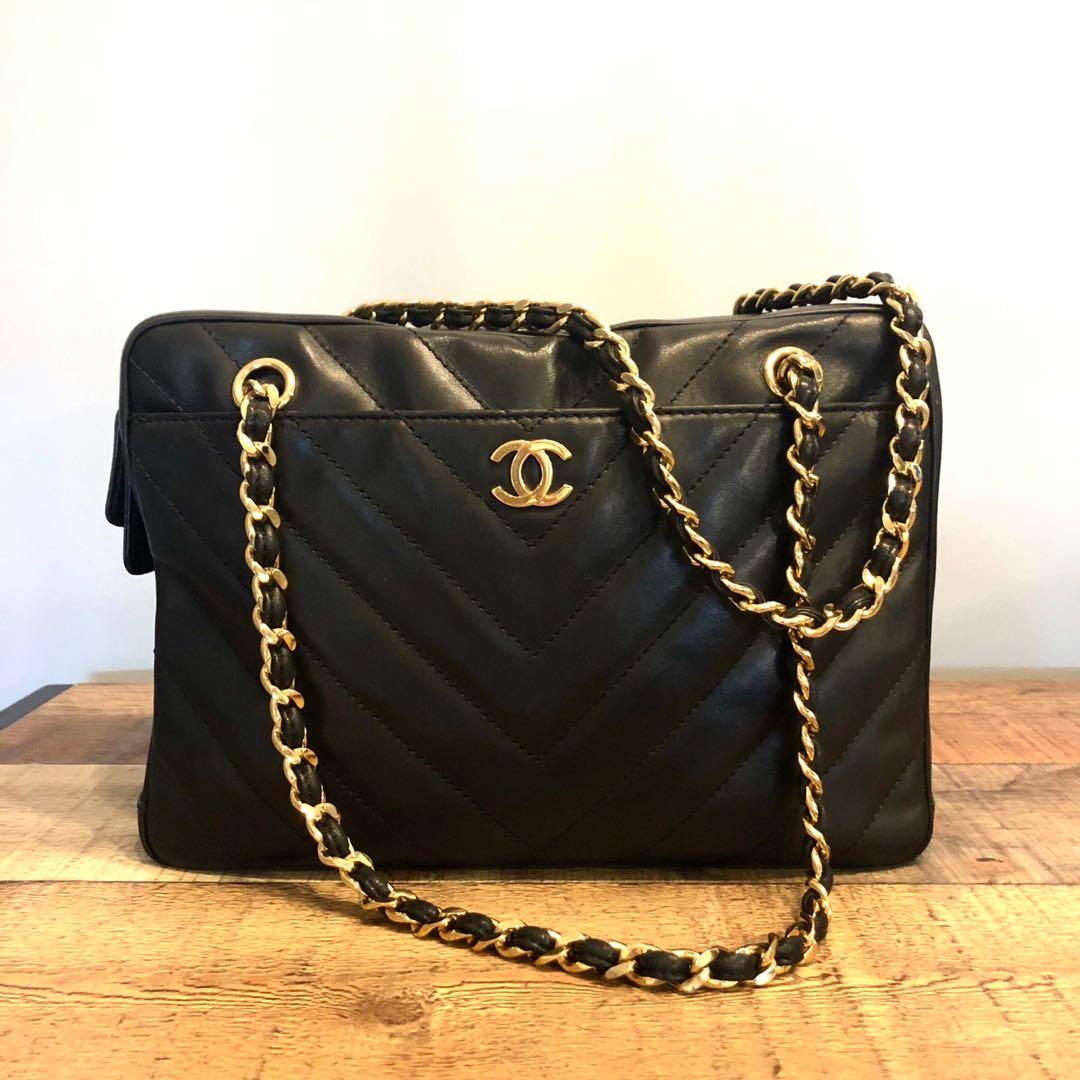 ec5daea07526 Authentic Chanel Chevron Lambskin Camera Bag w 24k Gold Hardware ...