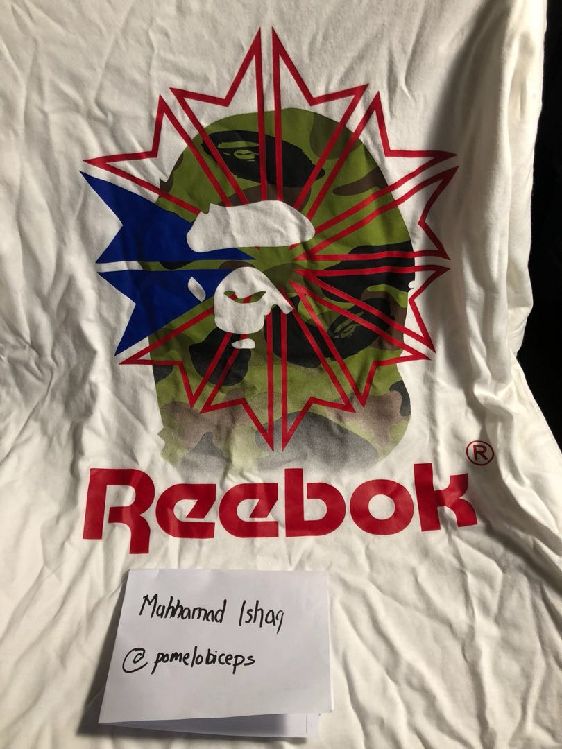 0ec3264be Bape x Reebok Shirt, Luxury, Apparel, Men's on Carousell