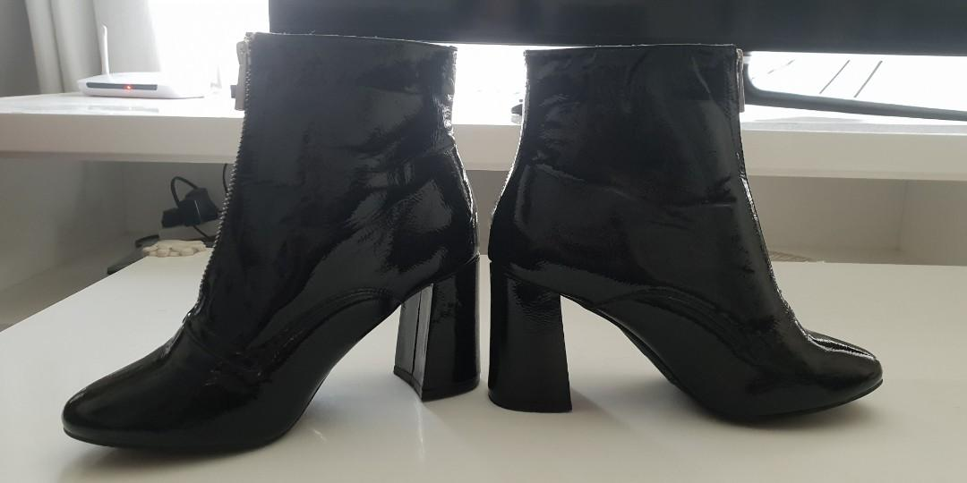 Black patent block heel ankle boots with zip front