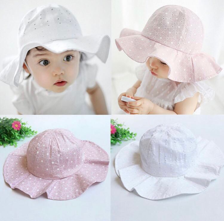 2adfd79b0ff03 BN Baby Girl Eyelet Bonnet Sun Hat! Pink and White Available! For 1 ...