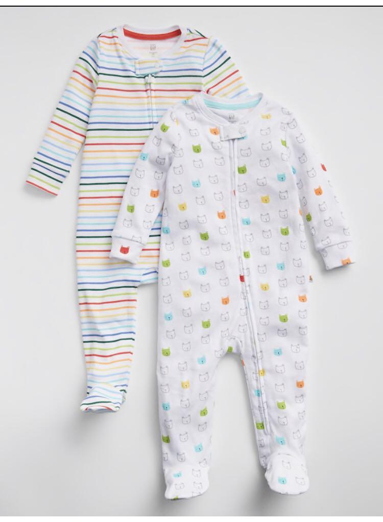 6f33aee22 BN GAP Baby Rainbow Stripes and Bear 2 Piece Romper Onesie Set 0 ...