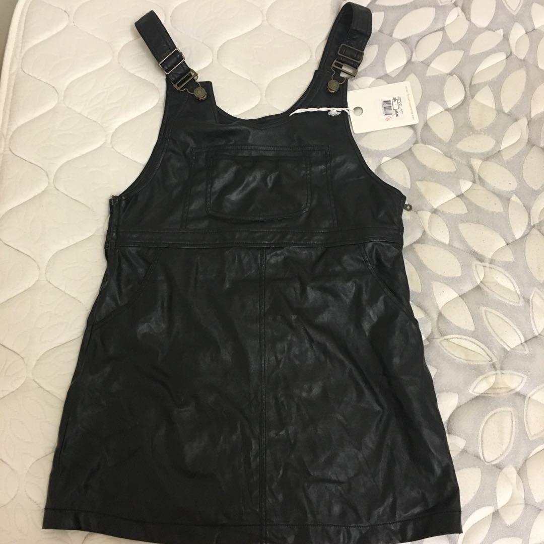 BRAND NEW Black Leather Overalls Dress