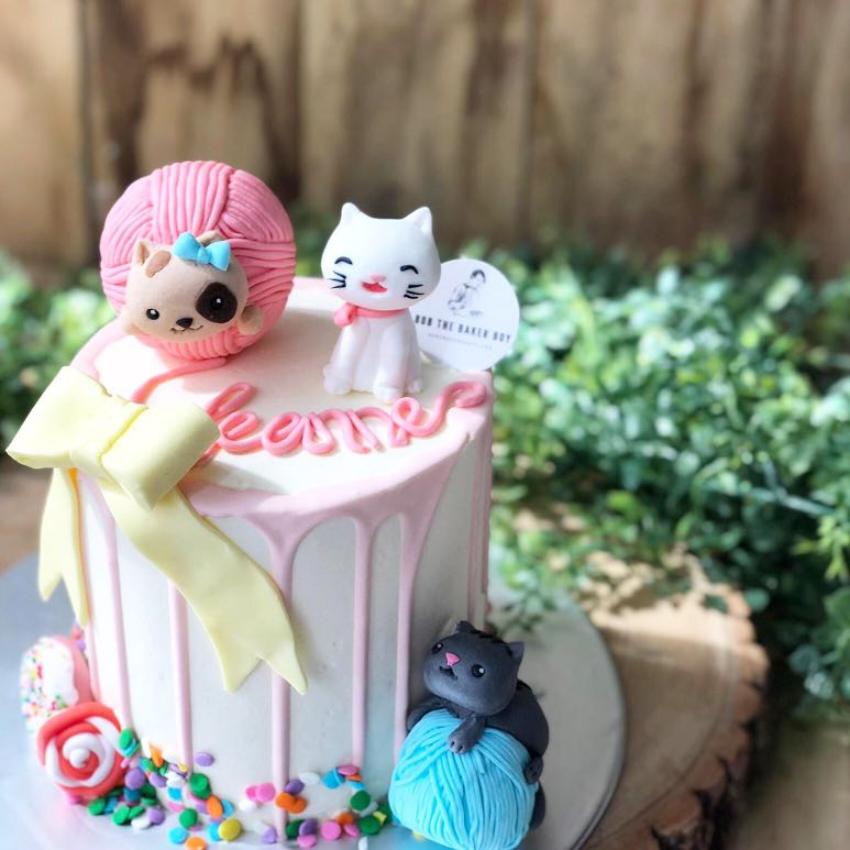 Cat Themed Cakes Customised Kids Birthday FREE
