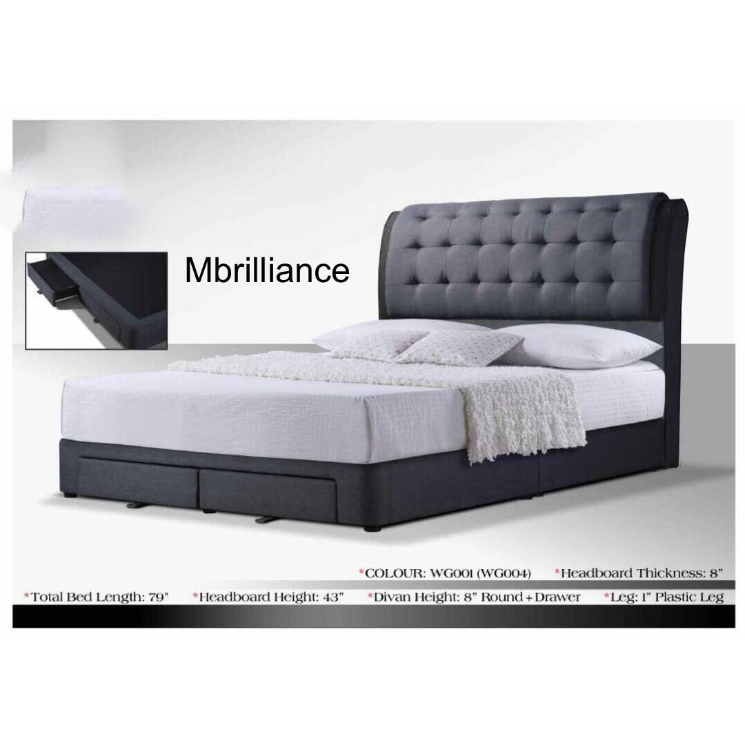 Divan Storage Bed Frame With Drawers King Queen Size Furniture