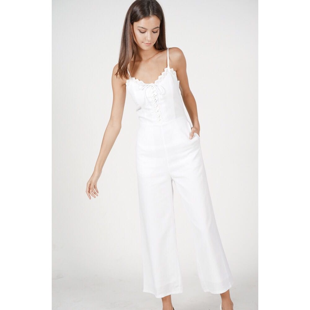 4f2313bd9a82 Mds Lace-up crochet jumpsuit in white