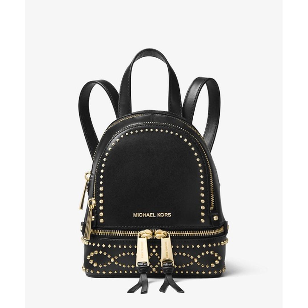 2e76d113d1ee Michael Kors Rhea Mini Studded Leather Backpack, Women's Fashion ...