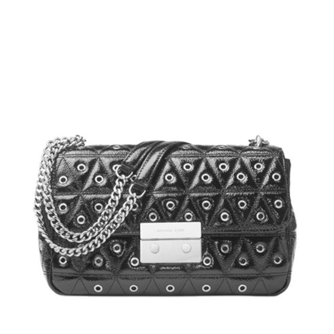 199a47cc21f8 MICHAEL KORS Sloan Grommet Large Quilted Leather Chain Shoulder Bag ...