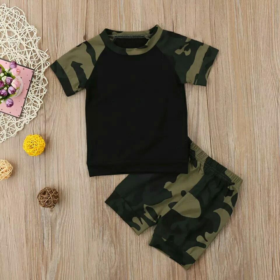 ecfc58070 Newborn Baby Boys Girls Summer 2Pcs Clothes Set Camouflage T-Shirt ...