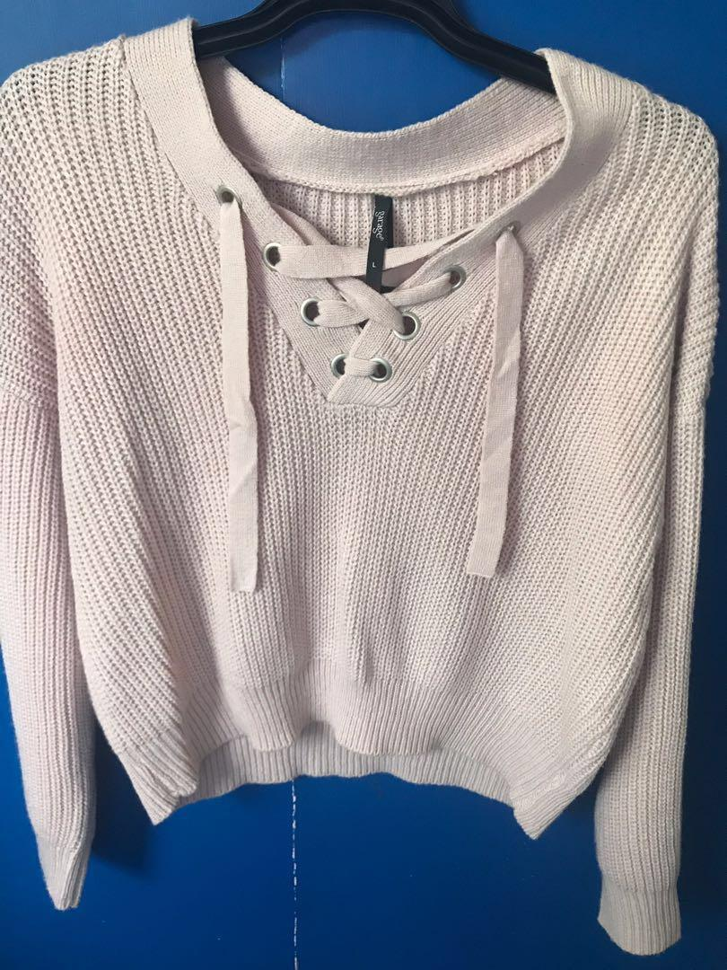 Pink lace up jumper