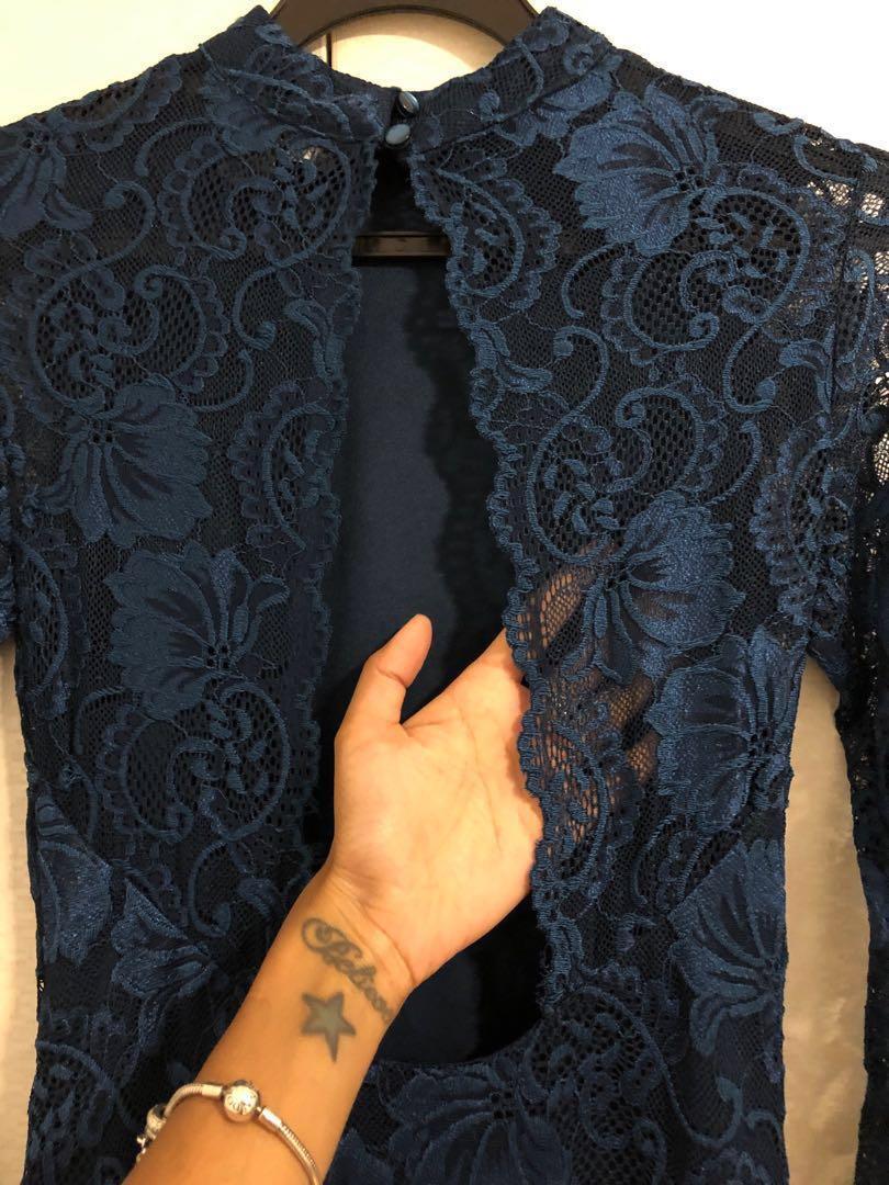Primark Navy Blue Lace Christmas Dress