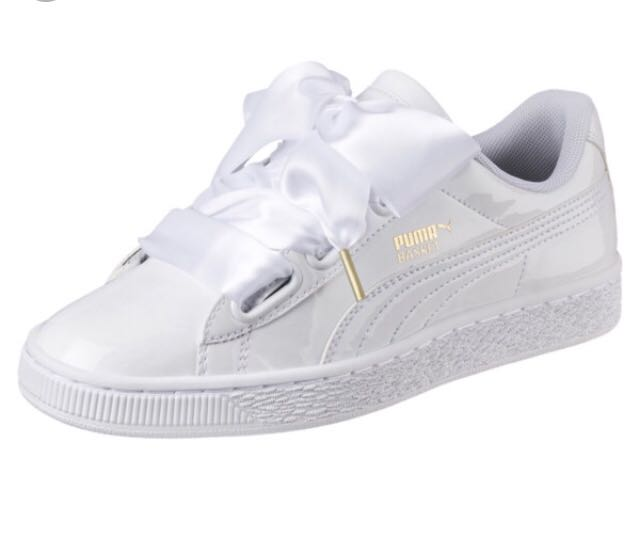 watch a0eb3 6740d Puma Basket Heart Sneakers In White Ribbon, Women's Fashion ...