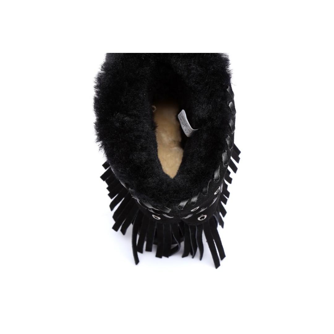 UGG Ladies Fashion Ankle Boots Trinity - Australian Double Face Sheepskin Fringe Tassel Metal Eyelets Water Resistant