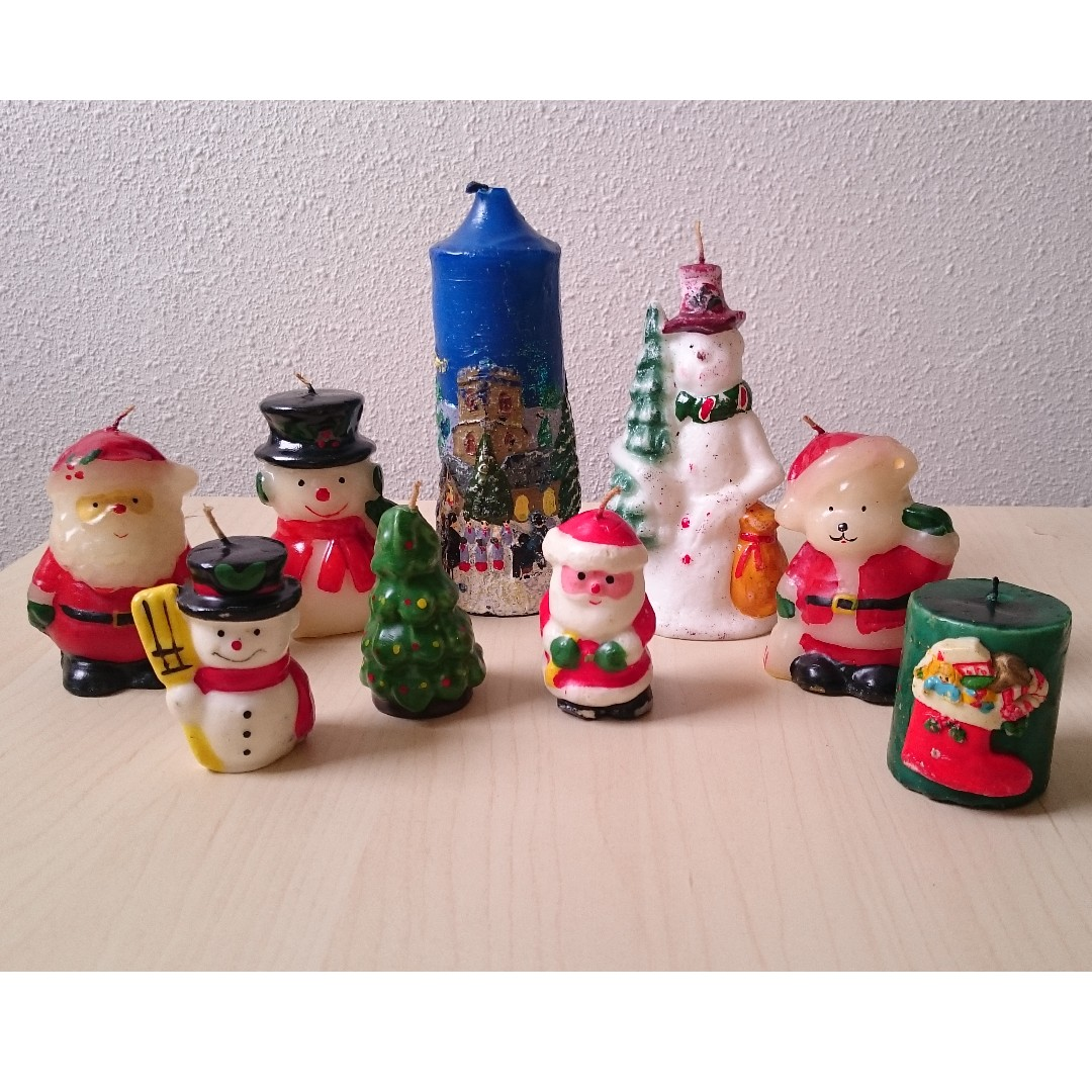 Vintage Christmas Candles.Vintage Christmas Candles For Decor Purposes For Festive Season Handmade And Cute