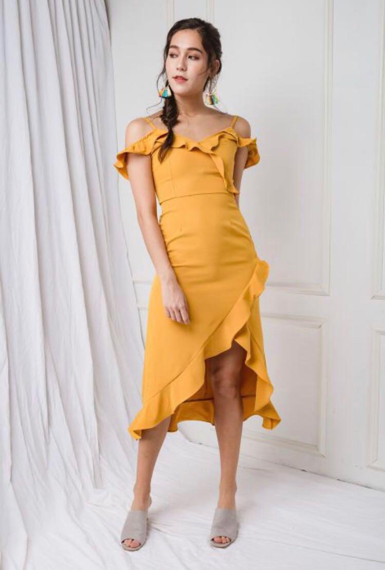 bccc2129e03d Yellow Off-Shoulder Dress