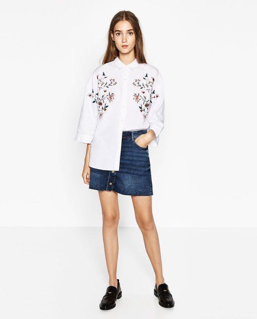 disponible varios estilos descubre las últimas tendencias Zara TRF Camisa Oversized Flores Shirt