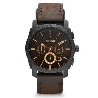 Jam Tangan Pria - Fossil Machine Mid-Size Chronograph Brown Leather Watch