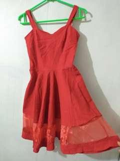 Party mini dress import merah