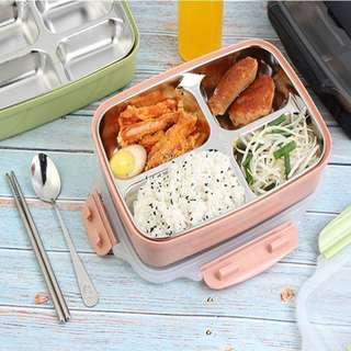 Kids Stainless Steel Lunch Box Container– 4Compartment bento with Fork and Spoon