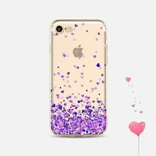 Violet Love Clear TPU Case for iPhone 5 5s 6 6s 7 8 plus X