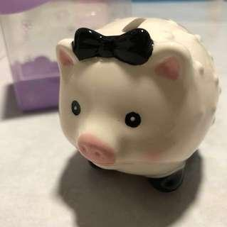 Brand New Piggy Coin Bank - Ceramic, Small, Mostly White (With Box) FREE*