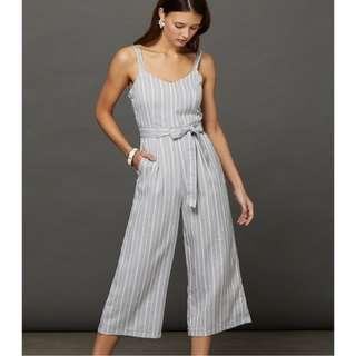 BNWT TEMT Waist Tie Striped Grey Jumpsuit